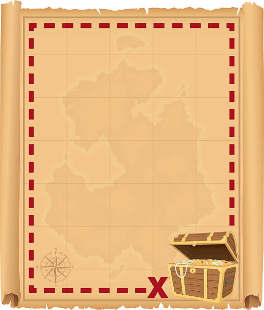 treasure chest border - treasure map backgrounds stock illustrations