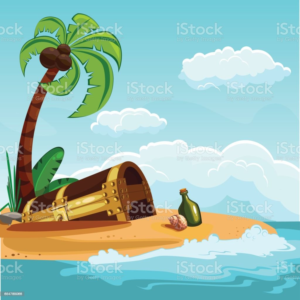 Treasure chest buried on the beach vector art illustration