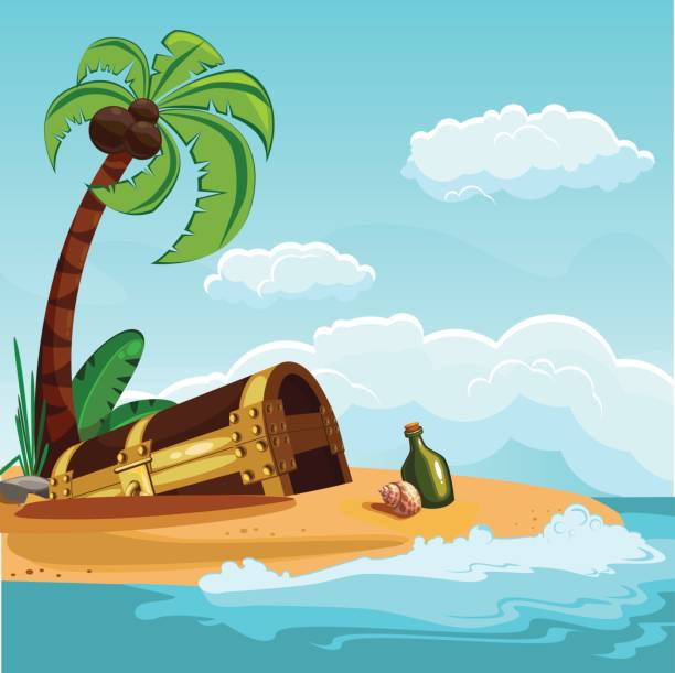 Treasure chest buried on the beach vector art illustration
