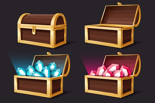 Treasure chest. Closed and open chests with gems jewelry. Medieval mystery pirate treasures illustration for game cartoon vector set