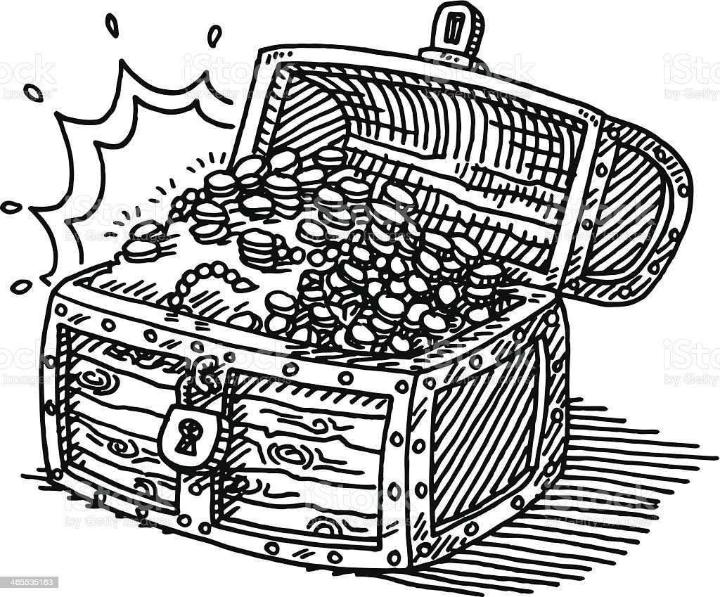 treasure chest coins drawing stock vector art more images of