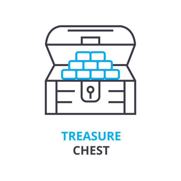 treasure chest concept , outline icon, linear sign, line pictogram, , flat illustration, vector treasure chest concept, outline icon, linear sign, line pictogram, , flat vector, illustration antiquities stock illustrations