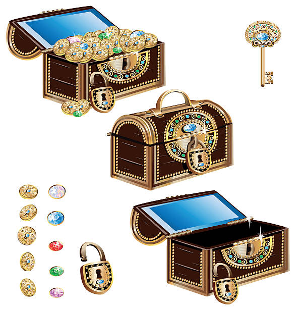 treasure chest decorated with jeweled ornaments - schlüsselkasten stock-grafiken, -clipart, -cartoons und -symbole