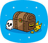 Vector illustration of a hand drawn treasure chest with skull, crown, and gold coins against a blue background.