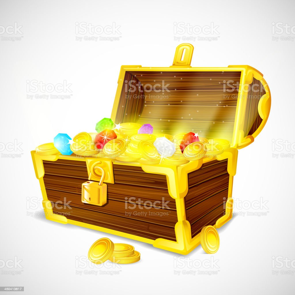 vector illustration of treasure chest of gold coins and gems