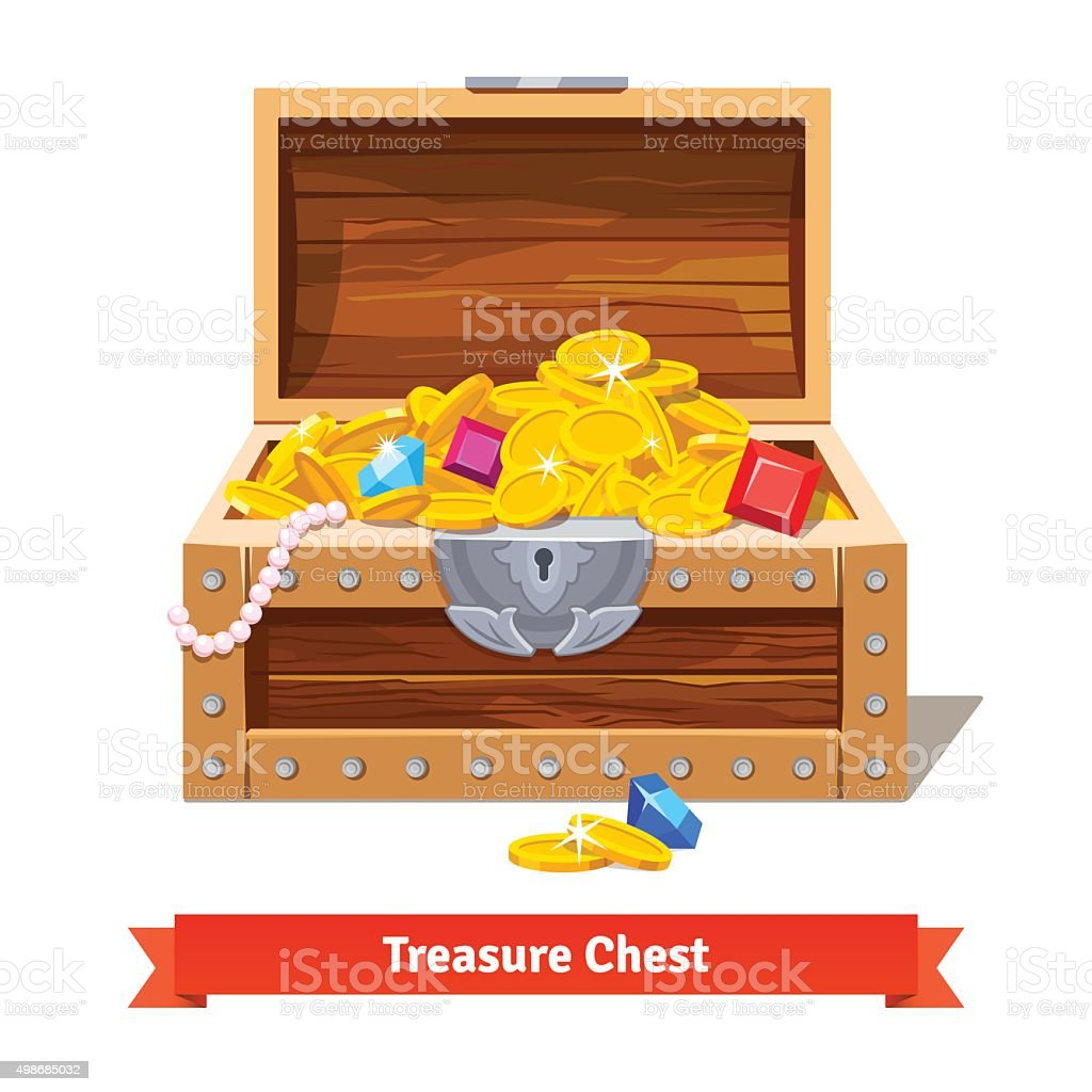 Treasure chest full of gold coins, crystal gems vector art illustration