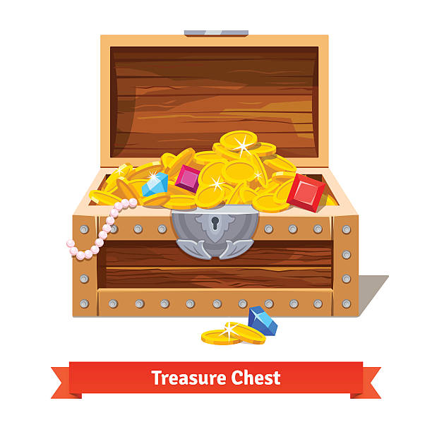 Treasure chest full of gold coins, crystal gems Treasure chest full of gold coins, crystal gems and jewellery. Flat vector illustration and icon antiquities stock illustrations