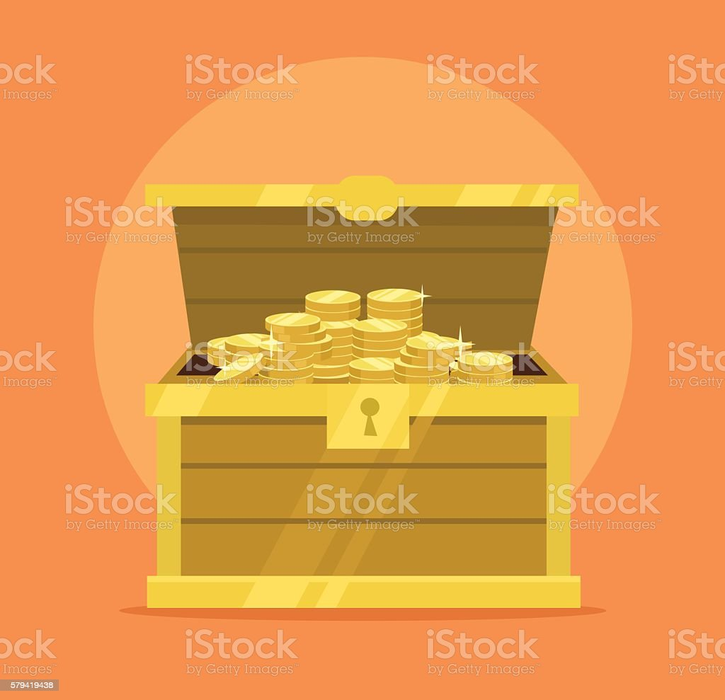 Treasure chest full of gold coins icon vector art illustration