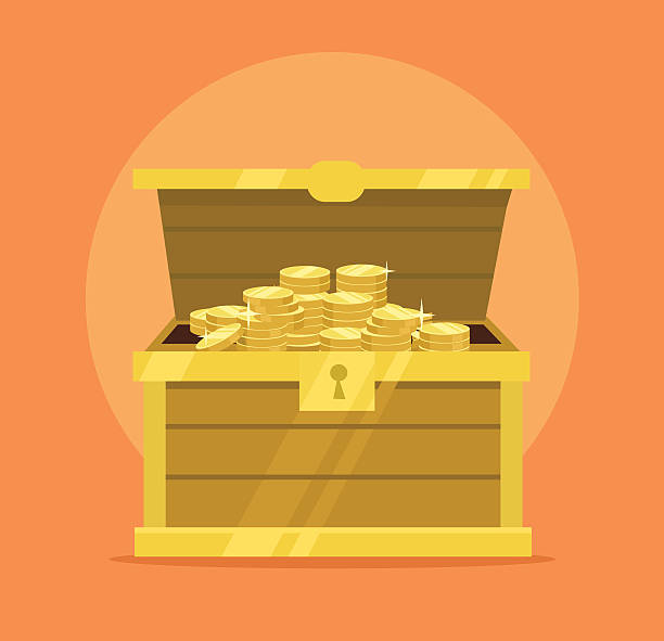 Treasure chest full of gold coins icon Treasure chest full of gold coins icon. Vector flat cartoon illustration antiquities stock illustrations