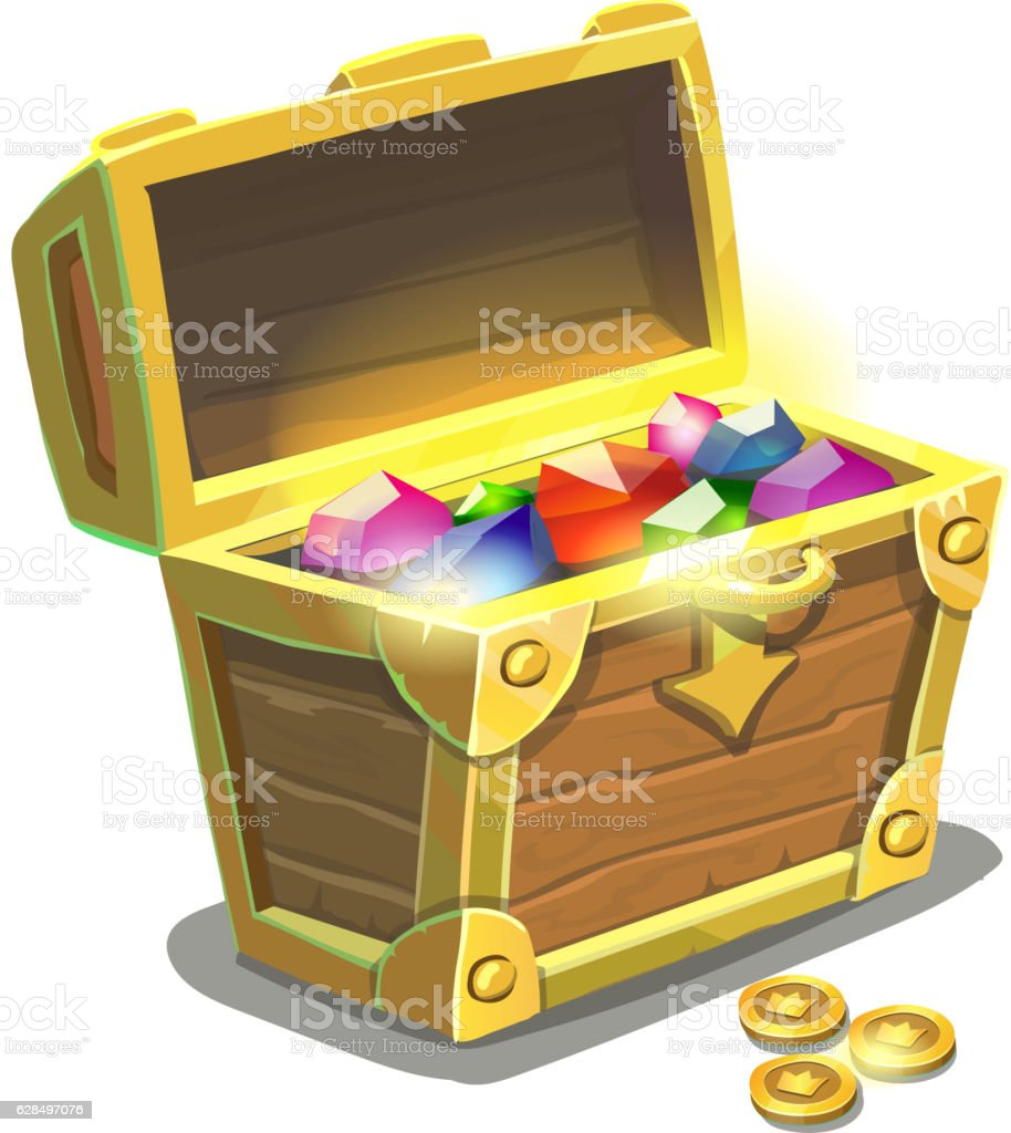 treasure chest full of jewels cartoon vector illustration stock