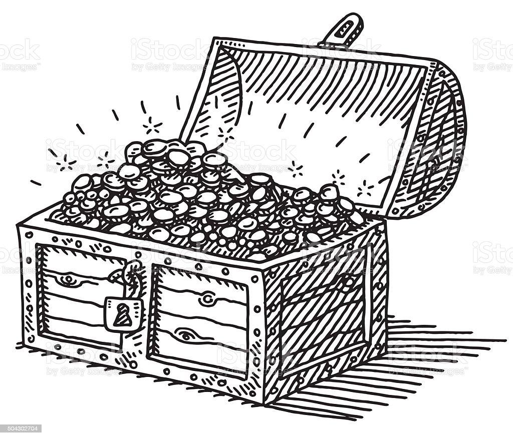 Line Drawing Money : Coffre au trésor des pièces dor de dessin cliparts
