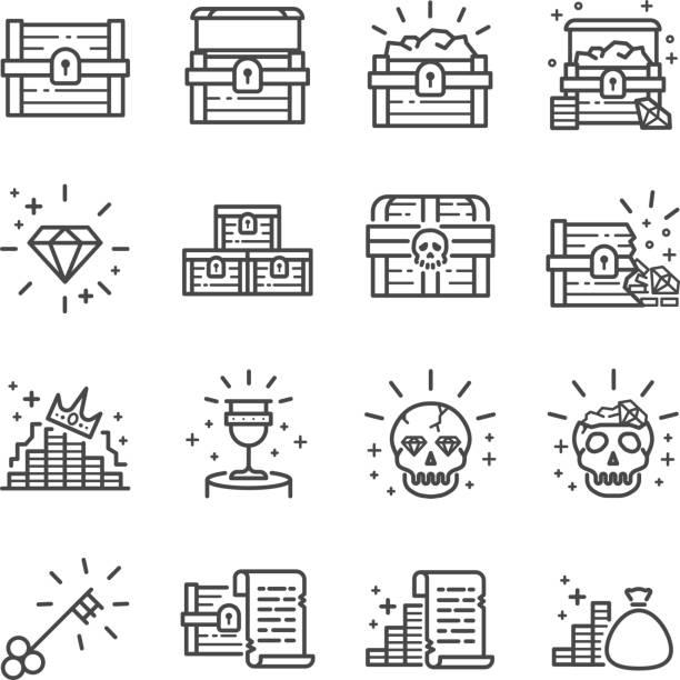 ilustrações, clipart, desenhos animados e ícones de conjunto de ícones de caixa de tesouro - antiguidades