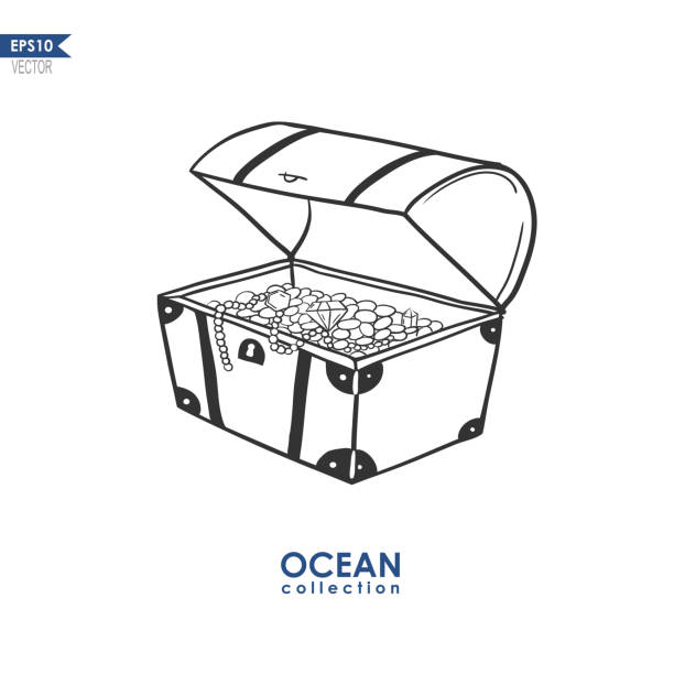 treasure chest illustration doodle illustration of a trunk with treasures, vector illustration of treasure box antiquities stock illustrations
