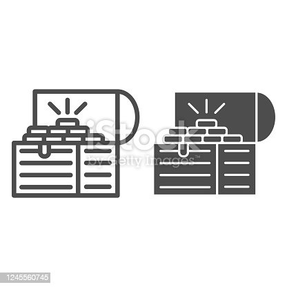 istock Treasure chest line and solid icon, wealth concept, Opened pirates treasure box sign on white background, Vintage wooden chest with gold icon in outline style for mobile and web. Vector graphics. 1245560745