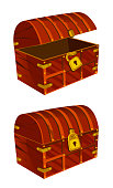 A treasure chest of mahogany with a golden lock on a white background