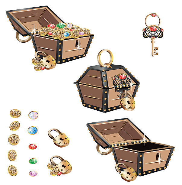 treasure chest set - schlüsselkasten stock-grafiken, -clipart, -cartoons und -symbole