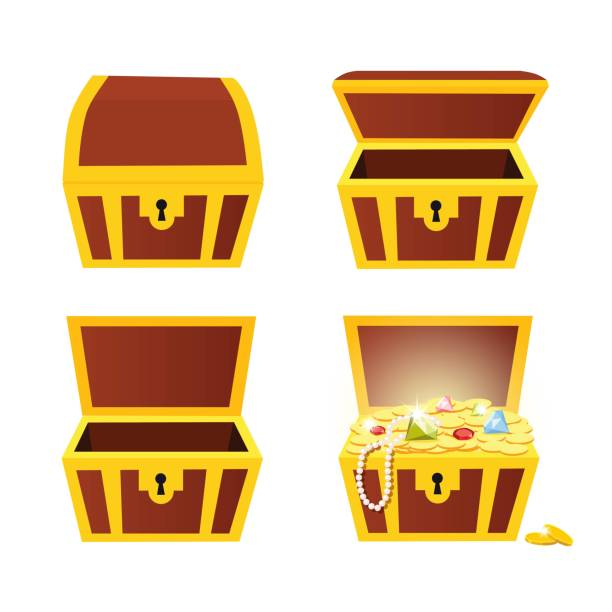 Treasure Chest Treasure Chest with jewels and gold coins antiquities stock illustrations