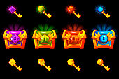 Treasure chest with precious stones and golden keys, vector icons