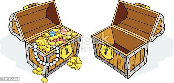 Treasure Chests Success Full Empty stock vector art 512985463   iStock
