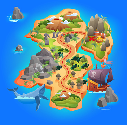 Treasure game map, cartoon tropical island map showing road direction to pirate gold treasure