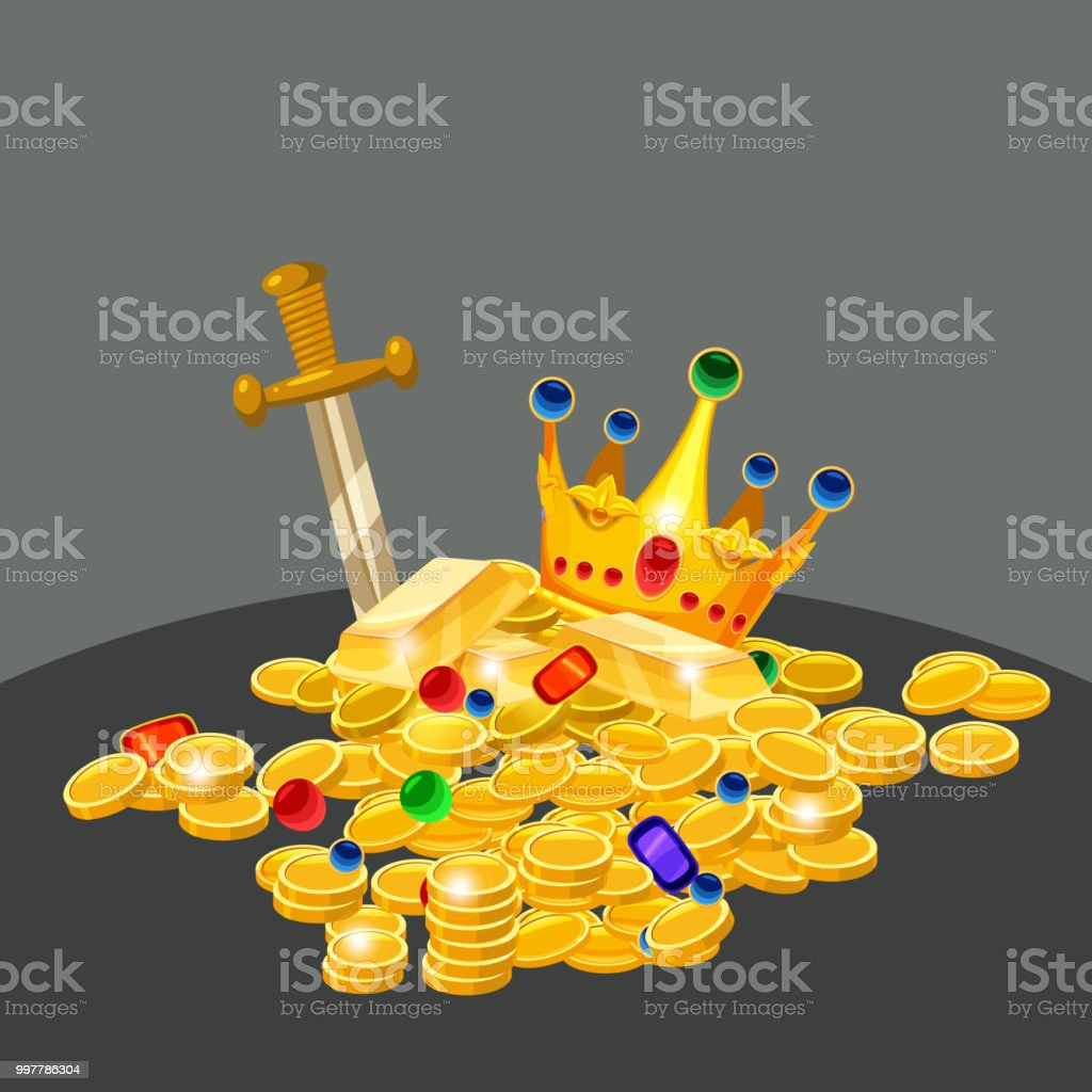 Treasure, gold, coins, jewels crown sword vector isolated cartoon...
