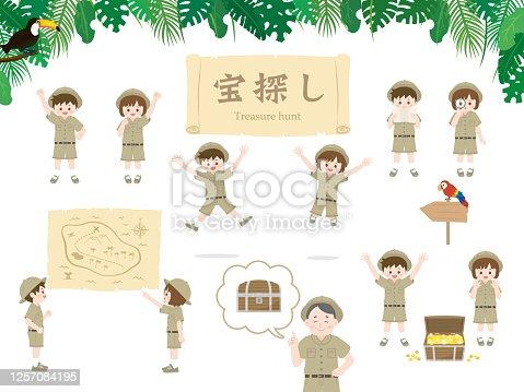 It is an illustration of a Treasure hunt set.