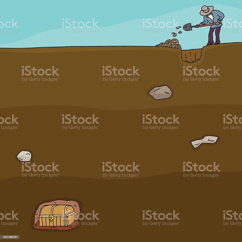 Treasure Hunter Digging Cartoon of man digging for buried treasure chest Adult stock vector