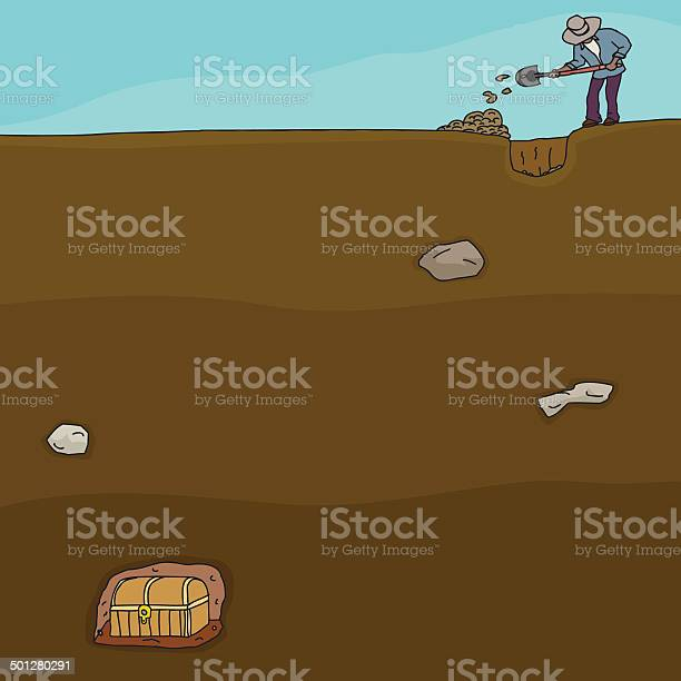 Treasure Hunter Digging Stock Illustration - Download Image Now