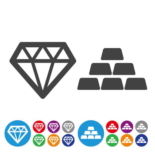 Treasure Icons - Graphic Icon Series Treasure, gemstone, ingot, wealth ingot stock illustrations