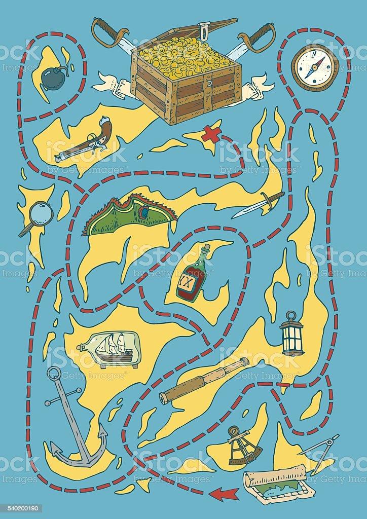 Treasure Island Map Maze Game vector art illustration