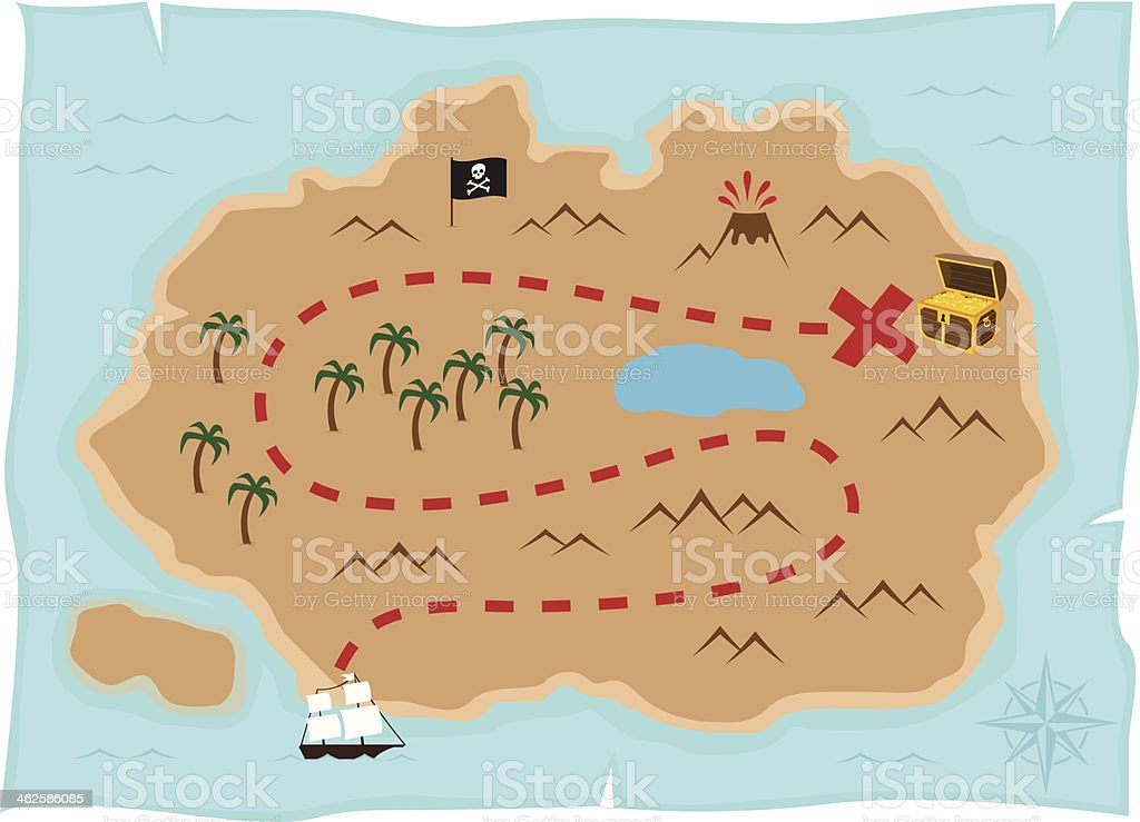 Treasure island map vector art illustration