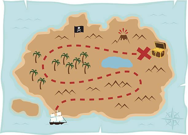 illustrations, cliparts, dessins animés et icônes de carte de l'île au trésor - cartes au trésor