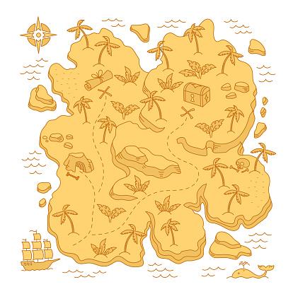 Treasure Island. Pirates Isle adventure. Sea ship. Board game chest map. Vector cartoon line. Open paths. Editable outline.