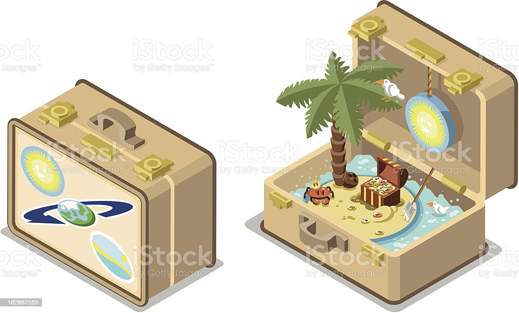 Treasure island travel suitcase open and closed vector art illustration