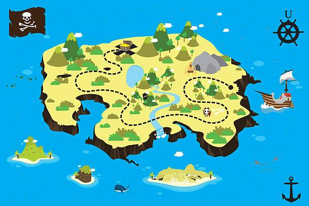 ilustrações, clipart, desenhos animados e ícones de treasure ilha do - mapas de tesouro