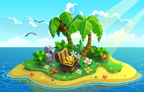 bildbanksillustrationer, clip art samt tecknat material och ikoner med treasure island med palmer och blommor. - ö