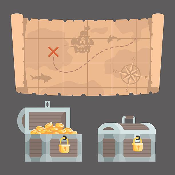 ilustrações, clipart, desenhos animados e ícones de mapa do tesouro e baú com ouro - mapas de tesouro