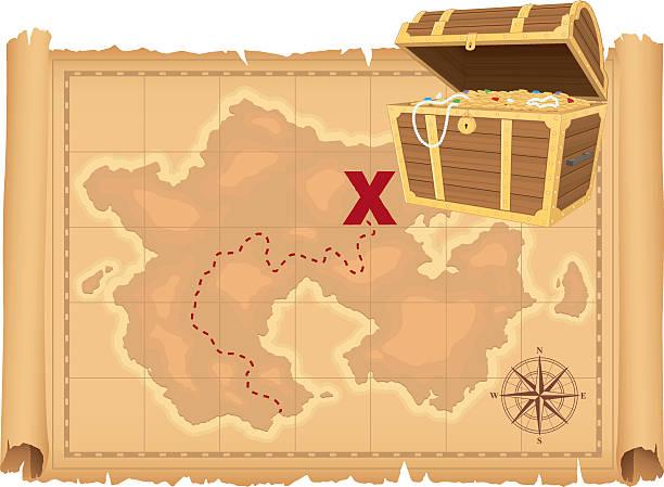 illustrations, cliparts, dessins animés et icônes de carte au trésor et trésor - cartes au trésor