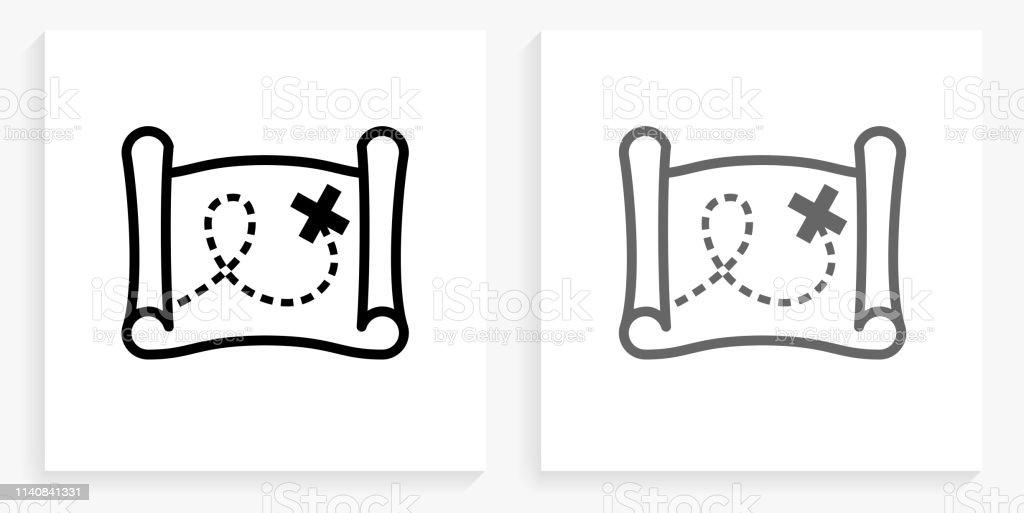 Carte Au Tresor Noir Et Blanc.Icone De Carte Au Tresor Noir Et Blanc Carre Vecteurs Libres
