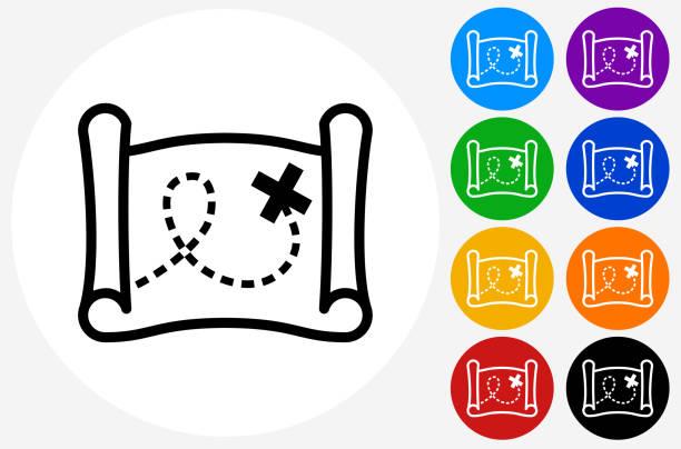 illustrations, cliparts, dessins animés et icônes de treasure map icon on flat color circle buttons - cartes au trésor