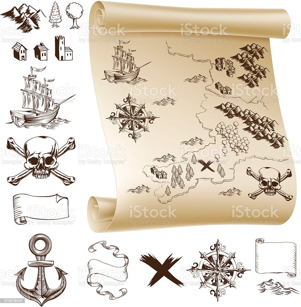 Treasure map kit vector art illustration