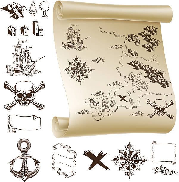 Treasure map kit Example map and design elements to make your own fantasy or treasure maps. Includes mountains, buildings, trees, compass, ship skull and crossbones and more. adventure patterns stock illustrations
