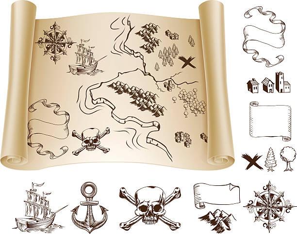 illustrations, cliparts, dessins animés et icônes de kit carte du trésor - cartes au trésor