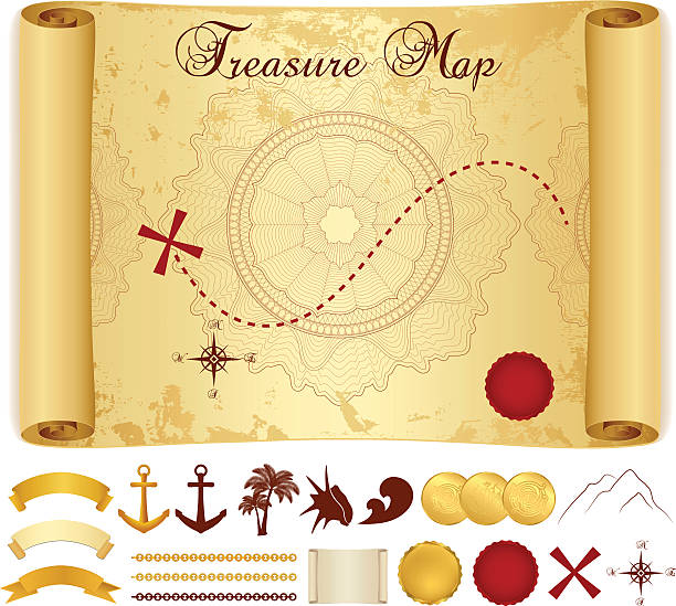schatzkarte auf alten, vintage, antiken papier (scrollen, pergament). vektor - kreuzkette stock-grafiken, -clipart, -cartoons und -symbole