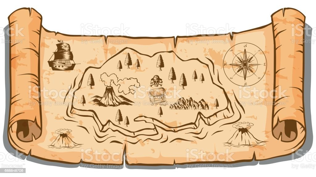 treasure map on roll paper stock vector art more images of antique rh istockphoto com treasure hunt map vector treasure map vector free download