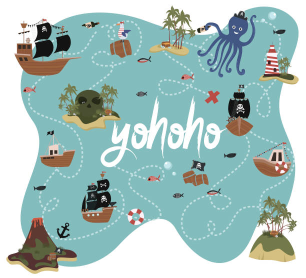 ilustrações, clipart, desenhos animados e ícones de mapa do tesouro. cartão de convite de aniversário de pirata em estilo cartoon - mapas de tesouro