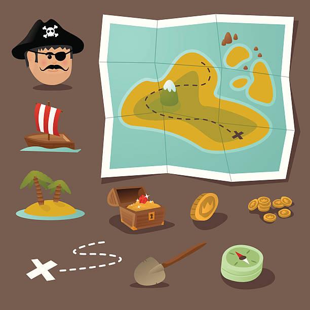 ilustrações, clipart, desenhos animados e ícones de mapa do tesouro kit de ferramentas - mapas de tesouro
