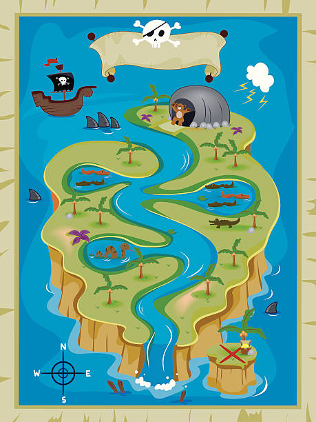 stockillustraties, clipart, cartoons en iconen met treasure map - roofdieren