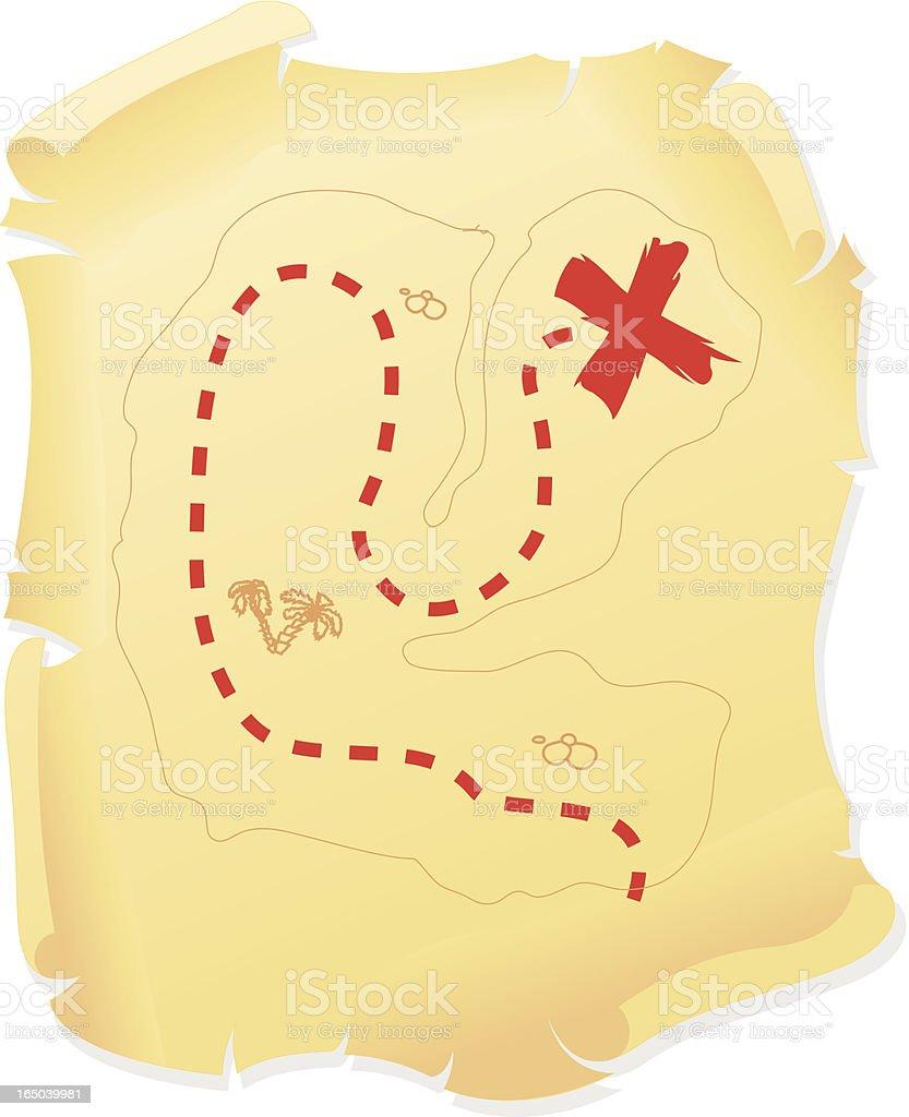 Mapa del tesoro - ilustración de arte vectorial