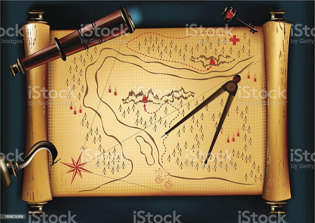 Mapa do tesouro - ilustração de arte em vetor